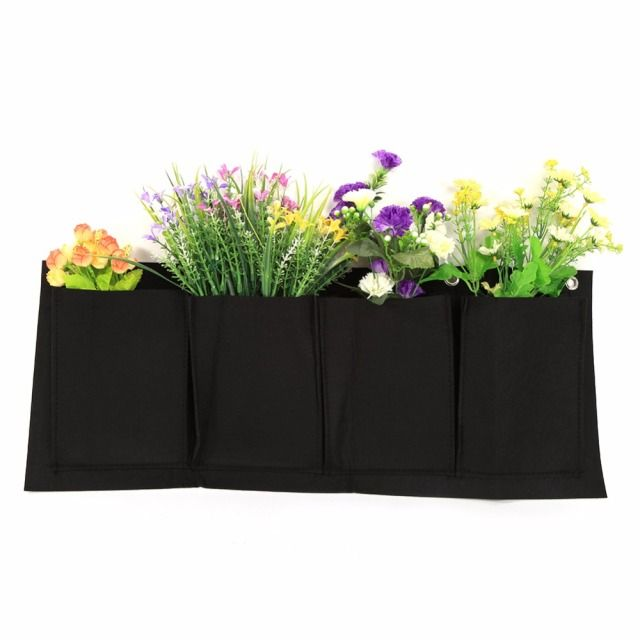 W 5 Pcs Classical Garden Planters Outdoor Vertical Gardening Planter Flower Hanging Pots Planter On wall Green Field