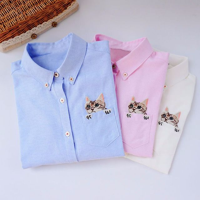Embroidery Print Cat on Pocket Shirts Lady 2017 Spring New Fashion White Blue Pink Casual Blouse Shirts Women Long Sleeve Tops