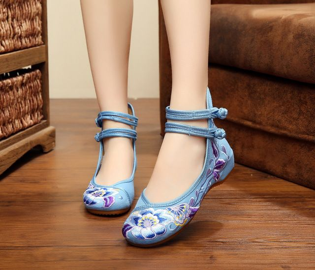 Fashion Women's Shoes Mary Jane Flat Heel Denim Flats With Embroidery Soft Sole Casual Shoes Plus Size SMYXHX-D0054