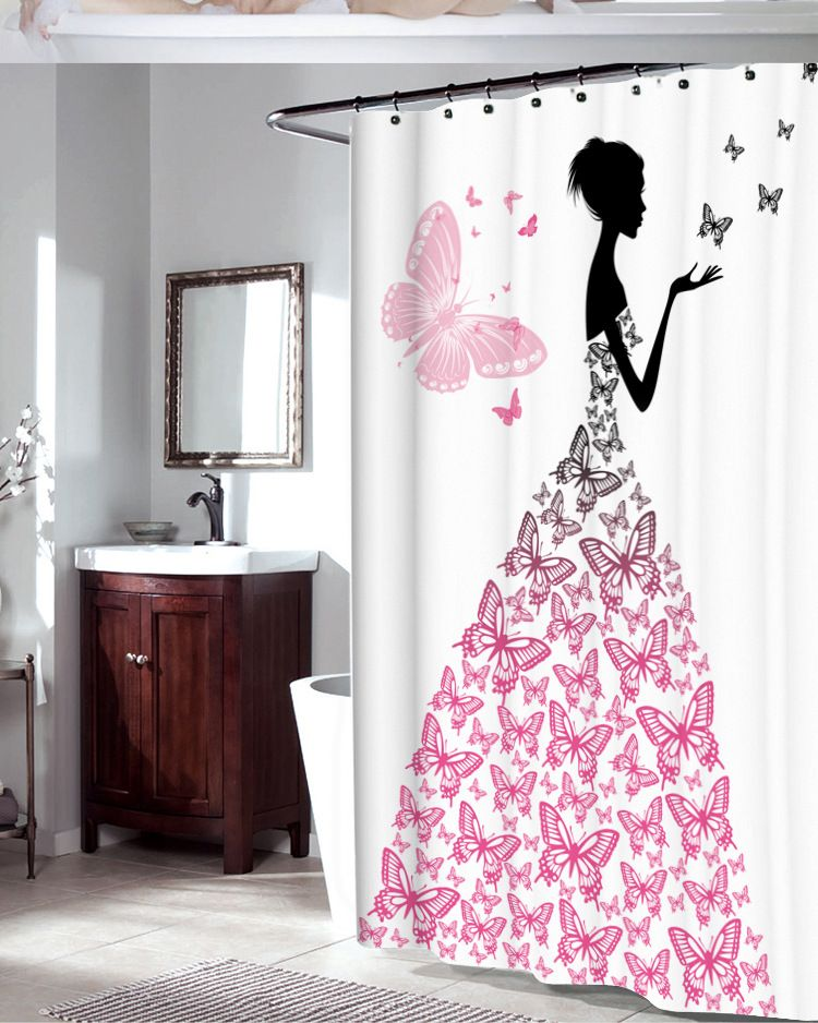 ZHH Waterproof Shower Curtain with Hooks Butteryfly Girl Bathroom Curtains High Quality Bath Bathing Sheer for Home Decorations