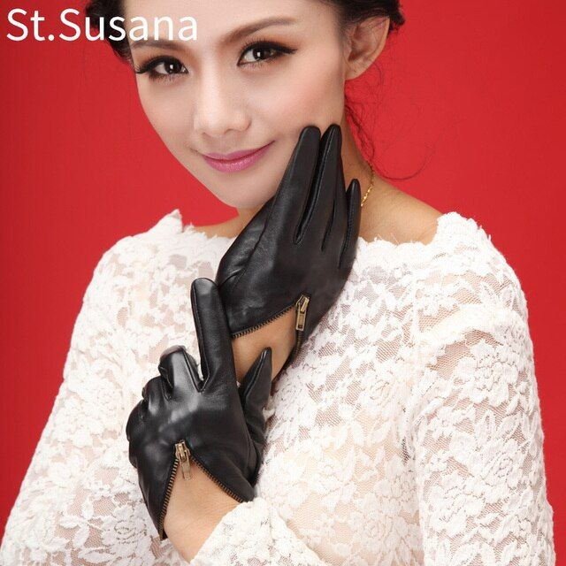 2017 girls lady touch screen gloves zipper party gift performance sexy gloves brand leather short  T show gloves fashion gloves