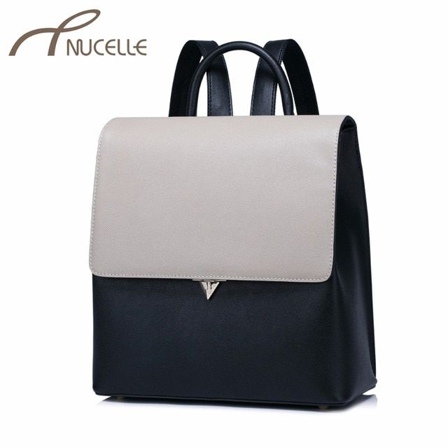 NUCELLE Women Split Leather Backpack Fashion Female Lock Daily Shoulder Bags Ladies Patchwork Box Travel Rucksack NZ4974