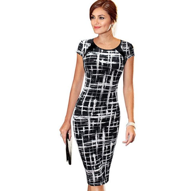 Sexy Summer Women Casual Work Business Dress Slim Elegant  Bodycon Pencil Short Sleeve Vintage Office Knee- Length Dress B287
