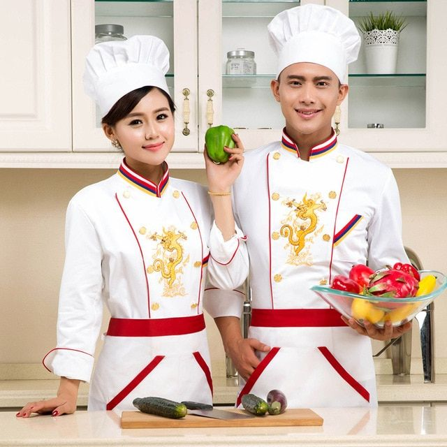 2016 New Design Chef Jacket long Sleeve Food Service Summer Hotel Chef Uniform Embroidery Chef Clothing
