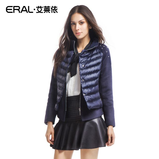 ERAL 2016 Winter Women's Slim Thick Faux Two Piece Patchwork Rivet Short Down Jacket Female Coat  ERAL2021D