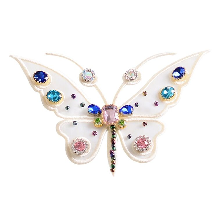 butterfly crystal rhinestone sequins patches applique beaded collar sewing accessories fashion clothing decoration patch