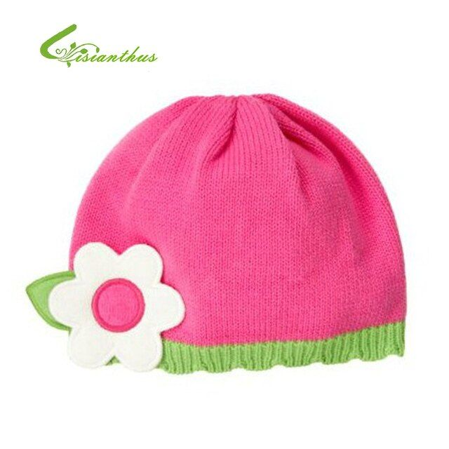 Baby Knitted Caps Children Girls Pink Cotton Hats Stereo Flower Beanies Kids Autumn Winter Skullies Drop Shipping Wholesale New