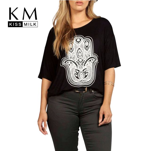 Kissmilk Plus Size New Fashion Women Casual Personalized Printing Big Size Half Sleeve T-shirt 3XL 4XL 5XL 6XL