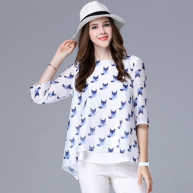 Spring Autumn women's fox print T-shirts three quarters O neck animal pattern plus size women loose casual tops XL-5XL
