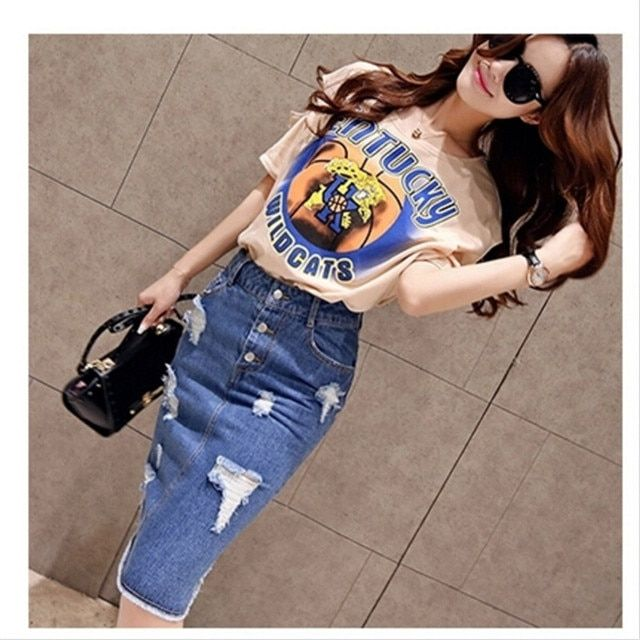 Europe Style 2016 Summer New Women's Two Piece Short Sleeved Crop Top and Denim Skirt Set Fashion Suit Female