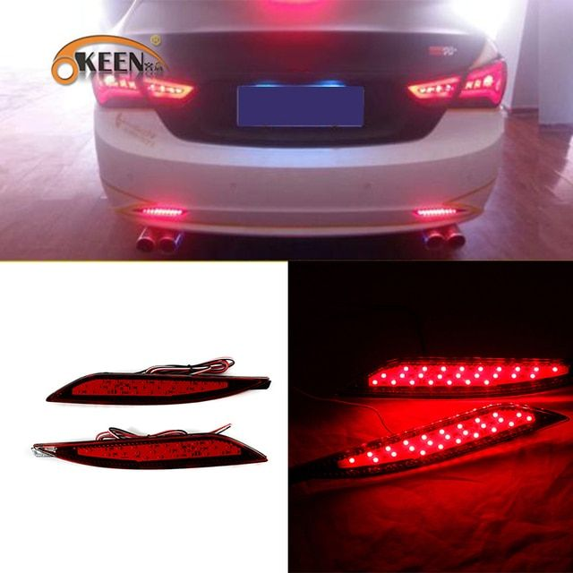 OKEEN 2PCS for Hyundai Sonata 8th 8 Generation Red Lens LED Rear Bumper Reflector Brake & Driving Lamp BackupTail Fog Lights