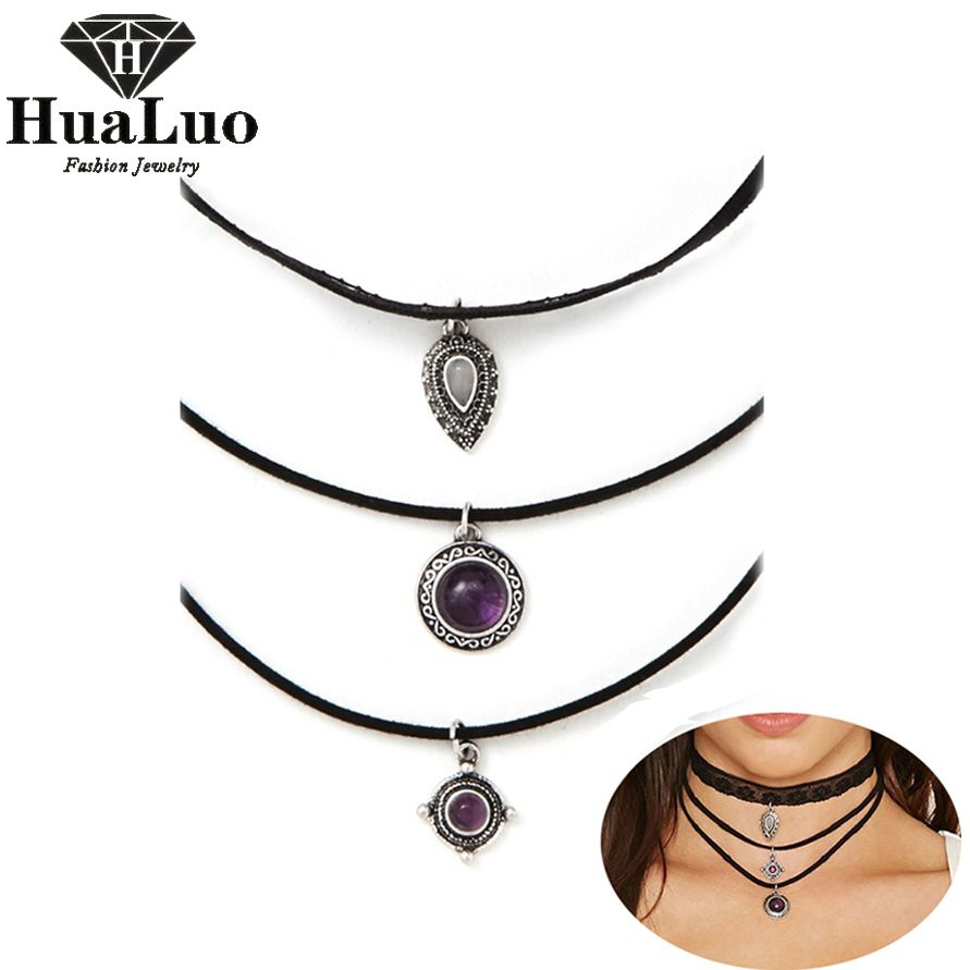 3 Pcs/lot Retro Three Layer Fashion Women Black Velvet Choker Necklaces Alloy Crystal Pendant Christmas Gift Wholesale NW3265