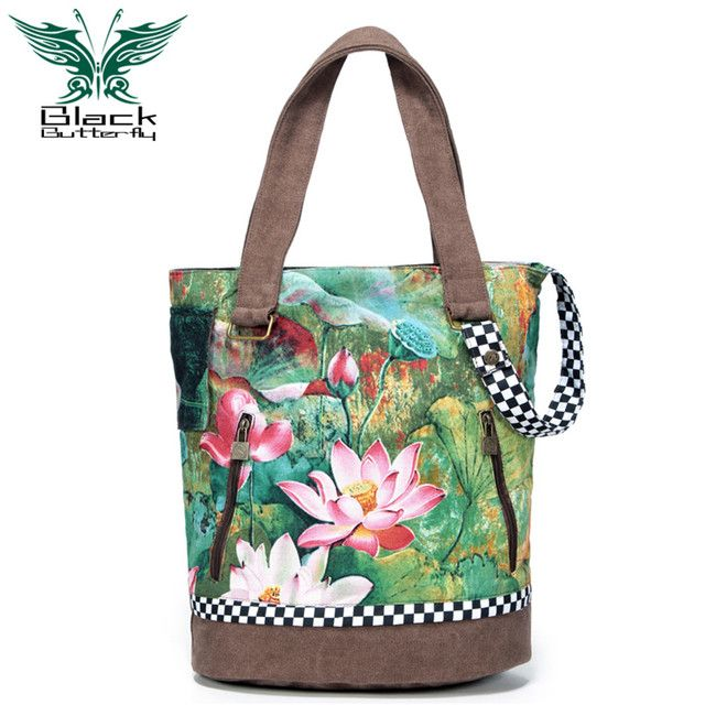 Black Butterfly brand women tote bag national printing floral handbags travel shoulder bags canvas casual slit pocket bolsa saco
