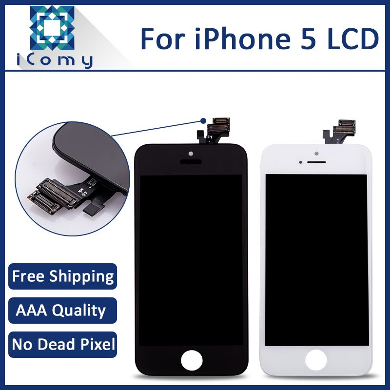Top Quality Pantalla For Apple iPhone 5 5G LCD Display Touch Screen Digitizer Assembly Replacement Black White DHL Freeshipping