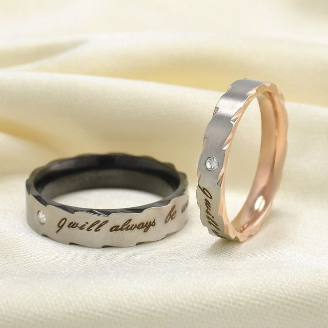 "2016 Romatic Lover ""I will always be with you"" Stainless Steel Couple Rings Classic Rings for Women Wedding Rings Free shipping"