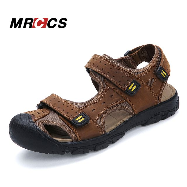 MRCCS Good Quality Big Size 38-47 Daily Men's Sandals,Summer Cool Walking Slippers,Soft Comfortable Genuine Leather Beach Shoes