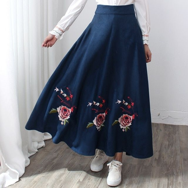 Free Shipping 2016 New Vintage High Waist Long Mid-calf A-line Women Spring And Winter Suede Skirt With Big Hem Embroidery Skirt
