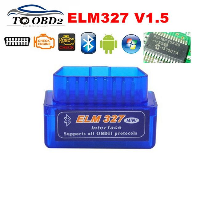 100% Firmware V1.5 PIC18F25K80 ELM327 Bluetooth V1.5 OBD2 Car Diagnostic Tool ELM 327 V1.5 Work On Android/Symbian BEST Quality