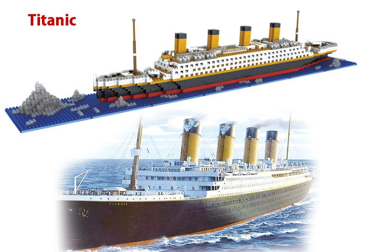 1860 Pcs Building Blocks Titanic Ship Model Building Blocks School Educational Supplies Toys Childern Gift