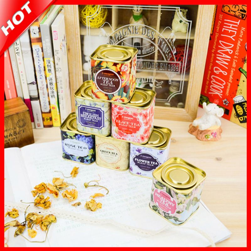 Free Shipping Zakka Fashion Tin Box Metal  British Style Candy Box  Tin Storage Box Tea Container Iron Vintage Box