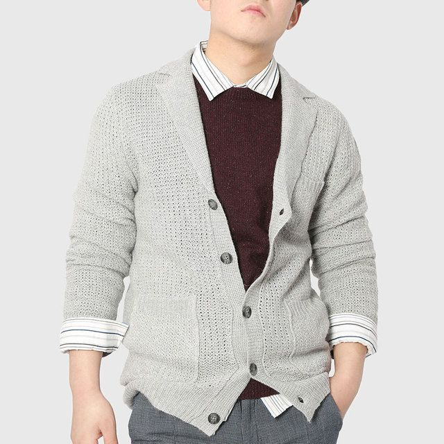 Men Plain Knitted Cardigan Long Sleeve Work Sweater Polo Collar Button Knitwear Young Man England Stylish Party Pattern Wear