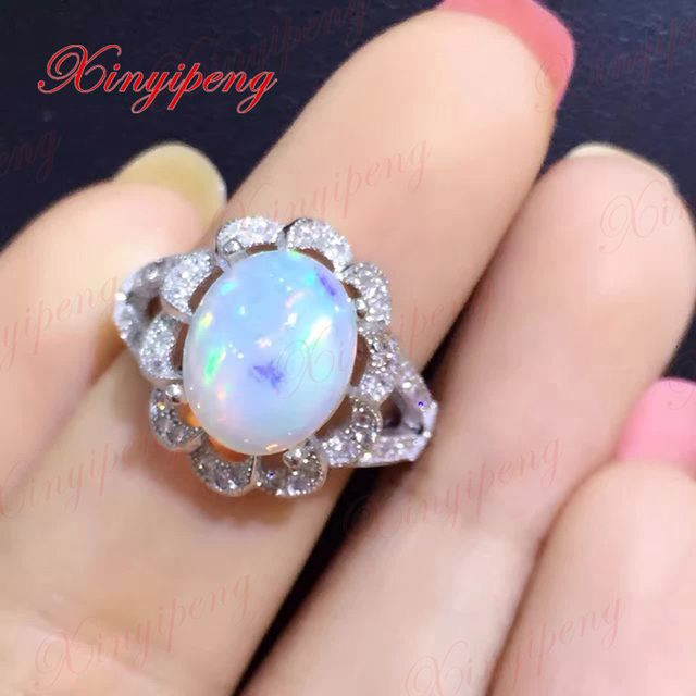 925 sterling silver with 100% natural opal ring women with Luxury and generous A wedding gift