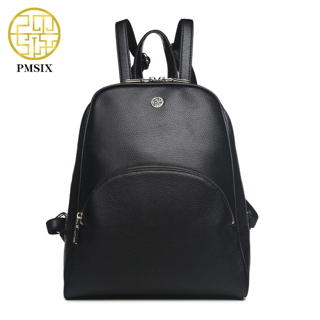 Pmsix Black Genuine Leather Women Backpack Real Leather Fashion Brand Designer Casual Backpack P910004