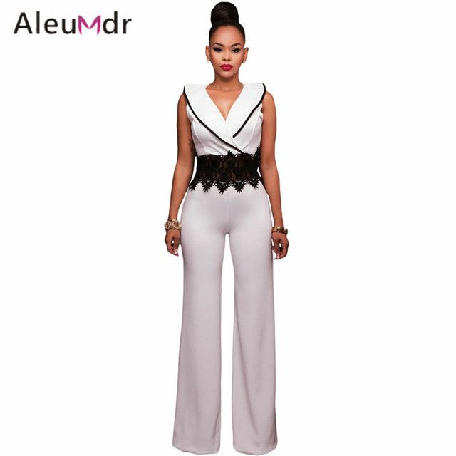 Aleumdr High Quality 2017 Ladies Elegant Overalls Lace Waist Insert Womens Wide Leg Jumpsuit LC64261 Macacao Feminino Longo