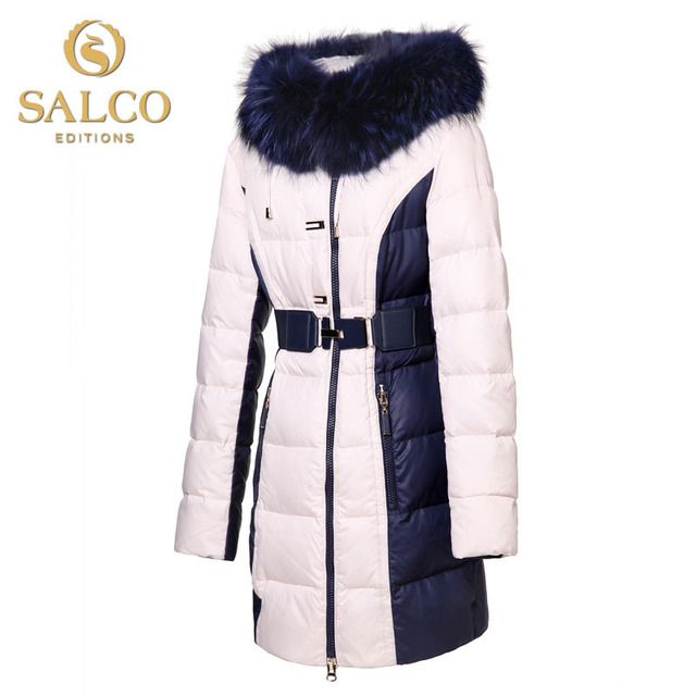 SALCO Free shipping new European and American fashion hit color large raccoon fur Ms. hooded down jacket and long sections