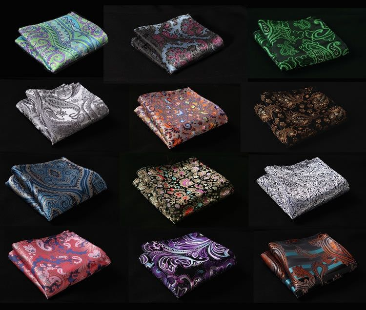 FD Paisley Floral Silk Satin Pocket Square Hanky Jacquard Woven Classic Wedding Party Handkerchief