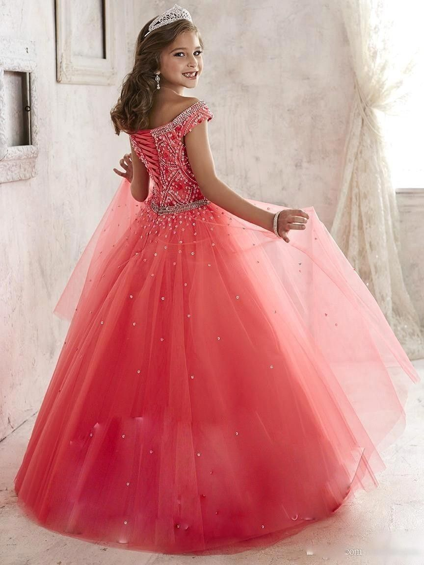 New Tulle Ball Gown First Communion Dresses For Girls 2016 A-line High Collar Flower Girl Dresses kids prom evening gowns