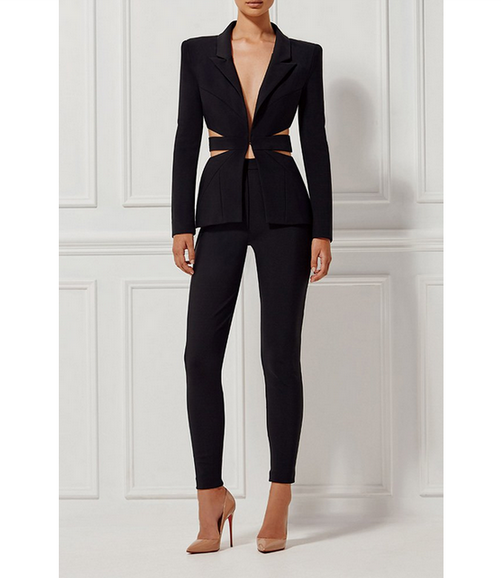 wholesale  new piece pants black Fashion Skinny Casual Two Piece Set bandage suits (H1206)