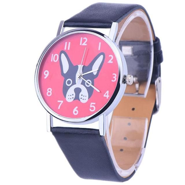 Lovely Dog Parttern Dial Wristwatch Women's Clock Leather Analog Quartz Vogue Watches Reloj Relogio