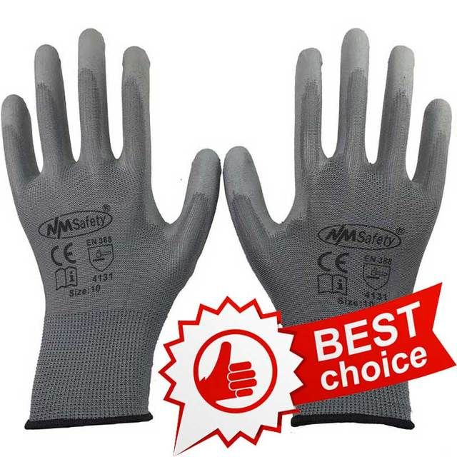 NMSAFETY New product PU work gloves wear-resistant safety gloves for workers working glove luvas trabalho