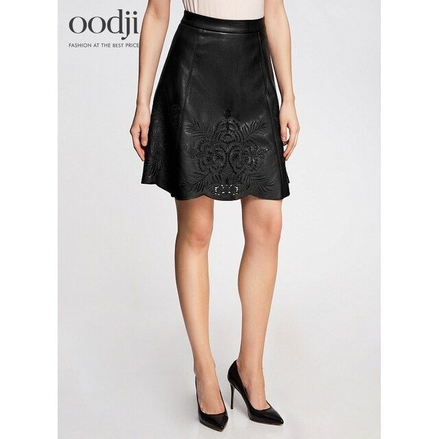 oodji 2017 faux leather Skirt with embroidery free shipping across Russia 18H0000445901 170 cm oodji 2017 Women Skirt Shipping