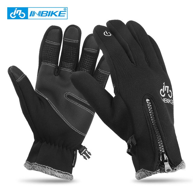 INBIKE Men's Cycling Gloves Ski Gloves Warm Windproof Bike Motorcycle Riding Winter Gloves Touch Screen PU Long Finger Gloves