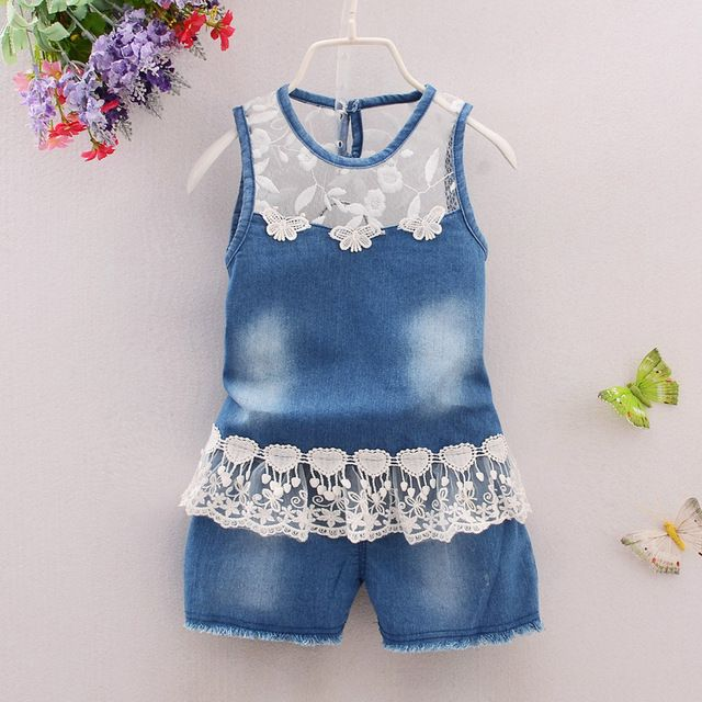 BibiCola 2017 baby girls clothes sets baby Cowboy suit baby girls clothing casual 2pcs flower lace girls summer set