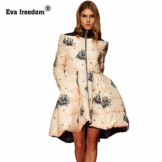 Camperas Mujer Invierno 2016 Winter Jacket Women Print Floral Long High Quality White Duck Down Womens Coat Parka abrigos mujer