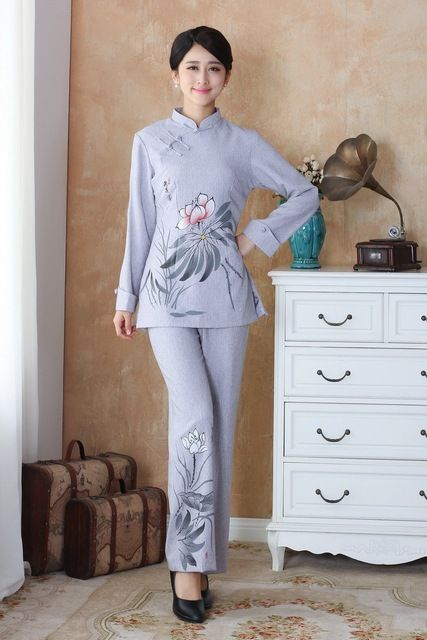 Fashion Light gray Women's clothing Linen Long Sleeve jacket pants suits set Size M L XL XXL XXXL 4XL 2508-3