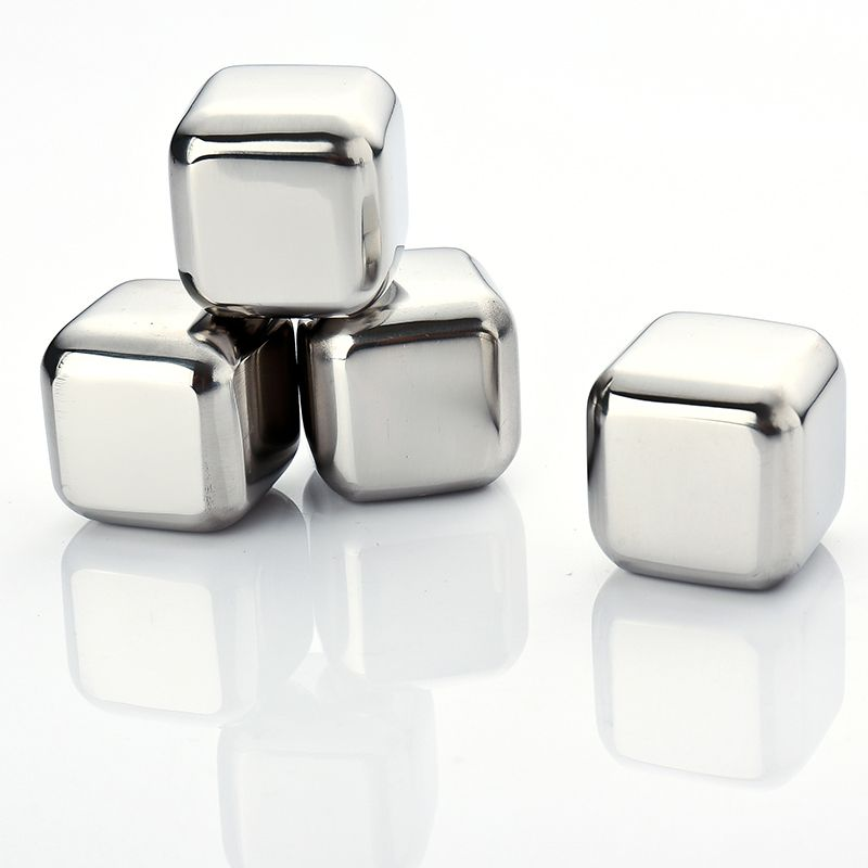 TFBC 4Pcs Whiskey Wine Beer Stones 440C Stainless Steel Cooler Stone Whiskey Rock Ice Cube Edible Alcohol Physical Cooled