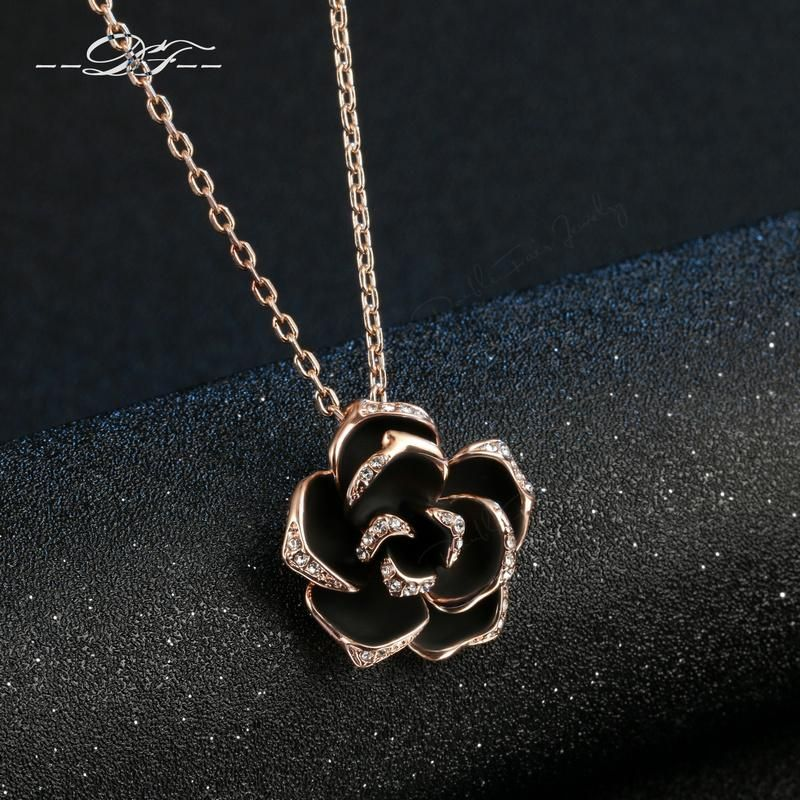 DFN021 Big Black Rose Rose Gold Color Charms Necklaces & pendants Fashion Jewelry For Women Gifts Crystal Chains colares joias