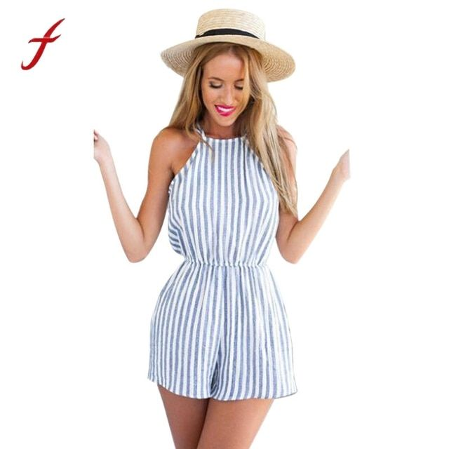 Hot 2017 To Beach Women Clubwear Halter Backless Striped Rompers Sexy Round Neck Casual Fashion Summer/Spring Jumpsuits