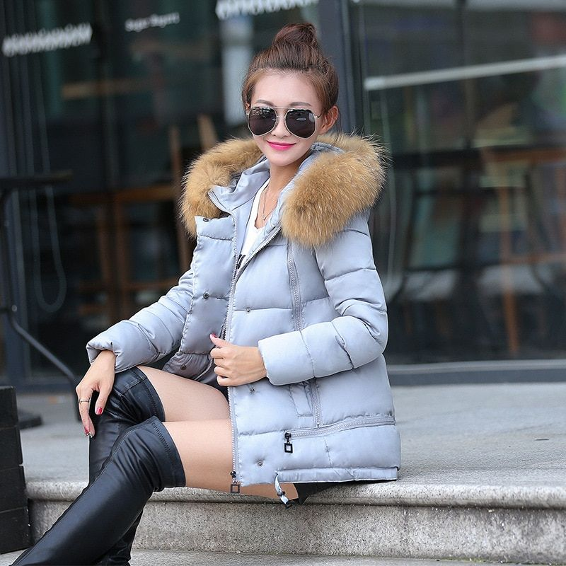Women Fur Collar Hooded down Jacket cold weather winter warm cotton coat fashion casual warm hooded jacket snow overcoat coat