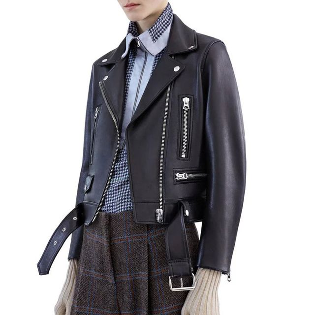 2016 New Fashion Black Faux Leather Jackets Lady Bomber Motorcycle Biker Autumn Winter Outerwear Coat with Belt Hot Sale