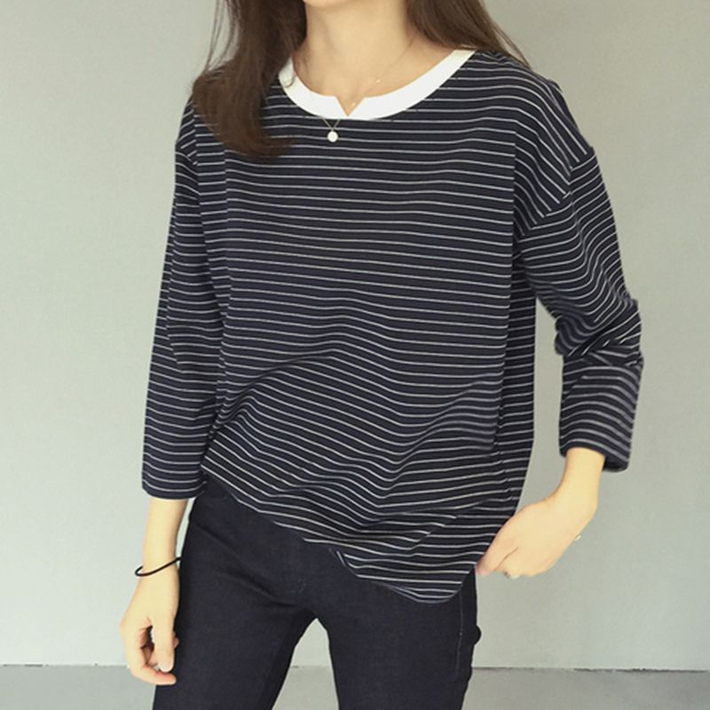 2017 Hitz new design V notch relaxed joker pinstripe t shirt women slim thick striped autumn t shirts women fashion loose tops