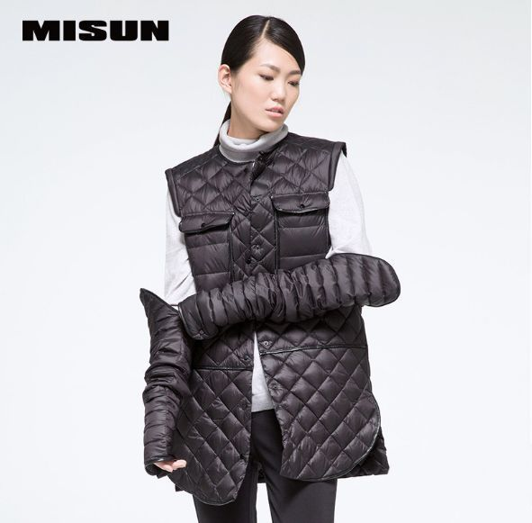 MISUN Women's Clothing Down Jackets 2018 PU Patchwork Detachable Shirt Paragraph Single Breasted Thin Light Down Coat MIDQ-V303