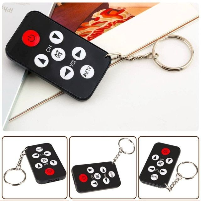Mini Pocket Size Universal Infrared IR TV Set Remote Control Keychain Key Ring 7 Keys For Philips Black Easy Carry
