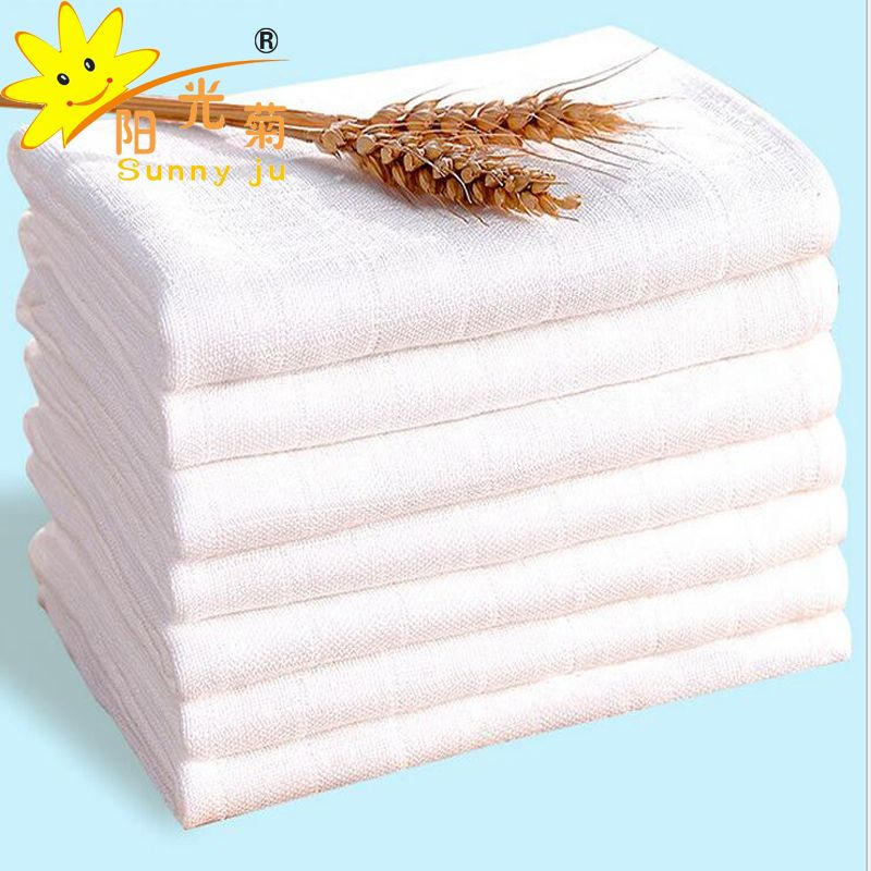 Baby Double Gauze Reusable Diapers Bamboo Muslin Super Soft Infant Nappies Bath Towel Washable Pure White Cloth Diaper 5Pcs/Lot
