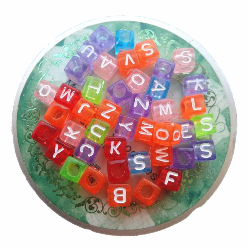 Newest Mixed Transparent Colors 6*6MM Acrylic Square Letter Alphabet Beads Big Hole White Printed Jewelry Cubet Big Hole Beads