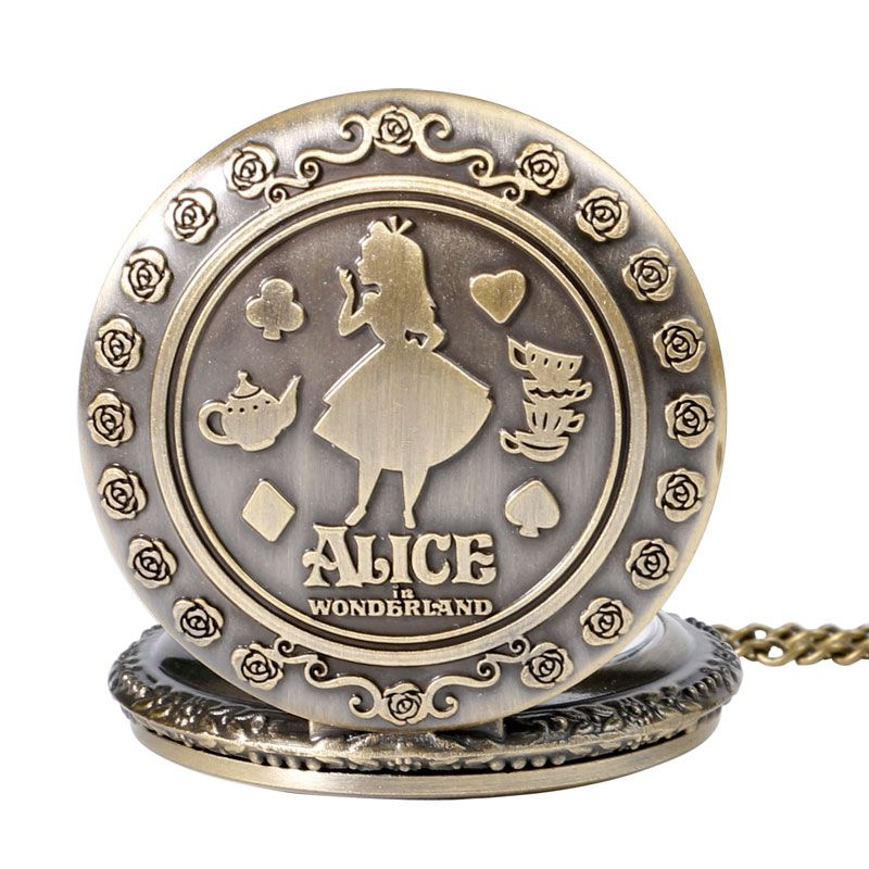Retro Bronze Dream Alice in Wonderland Rabbit Drink Me Tag Brown Glass Quartz Pocket Watch Chain Necklace Pendant for Girl Women